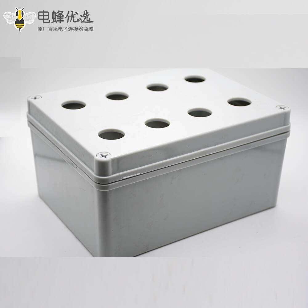定制防水盒矩形8孔ABS塑料壳体螺丝固定密封接线盒