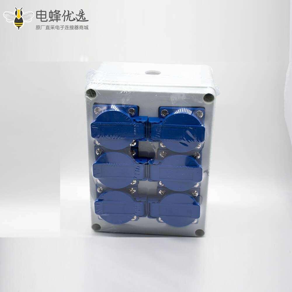 DIY 插座防水盒定制化壳体ABS塑料螺丝固定6位插座