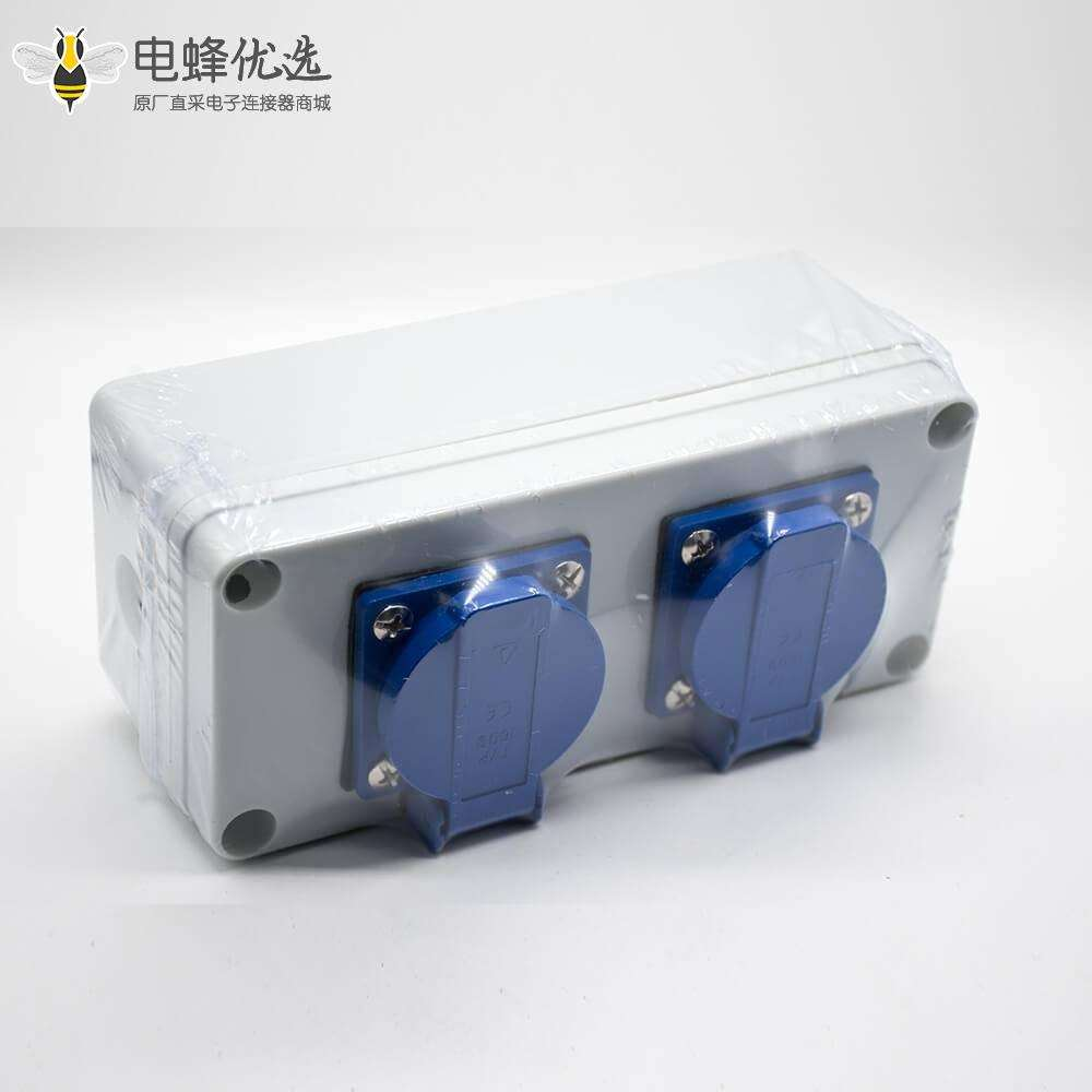 双插座防水盒可定制尺寸螺丝固定2位插座ABS塑料壳体