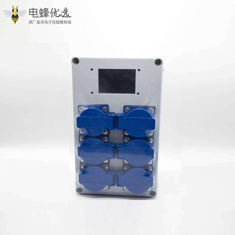 配电箱户外防水插座定制化ABS塑料壳体螺丝固定6位插座显示屏