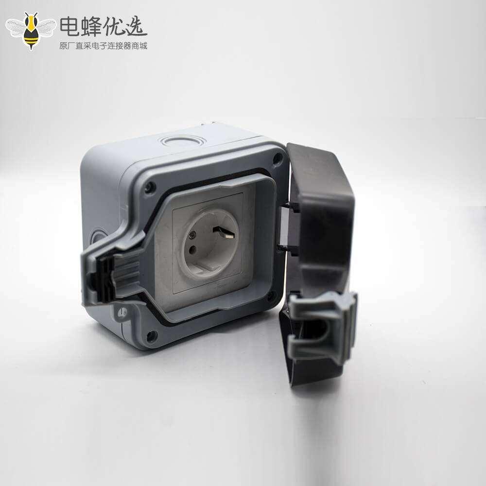 防水插座箱定制化ABS塑料壳体卡扣安装防溅户外电源插座盒
