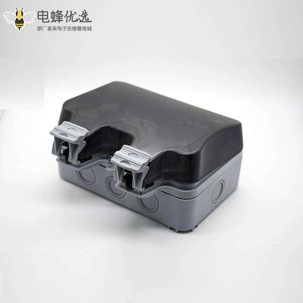 防水盒开关插座定制化双端口开关+3孔插座卡扣安装ABS插座箱