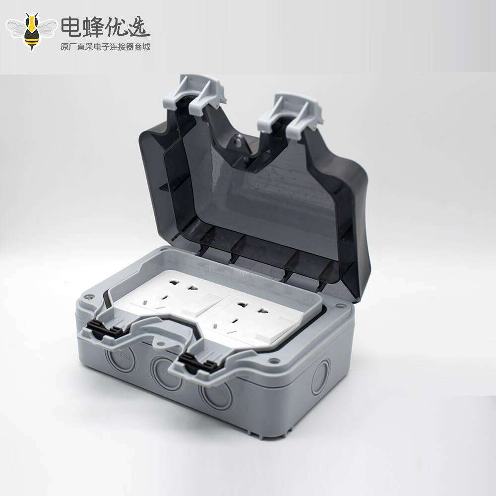 双位开关插座防水盒可定制双端口开关+5孔插座ABS塑料外壳