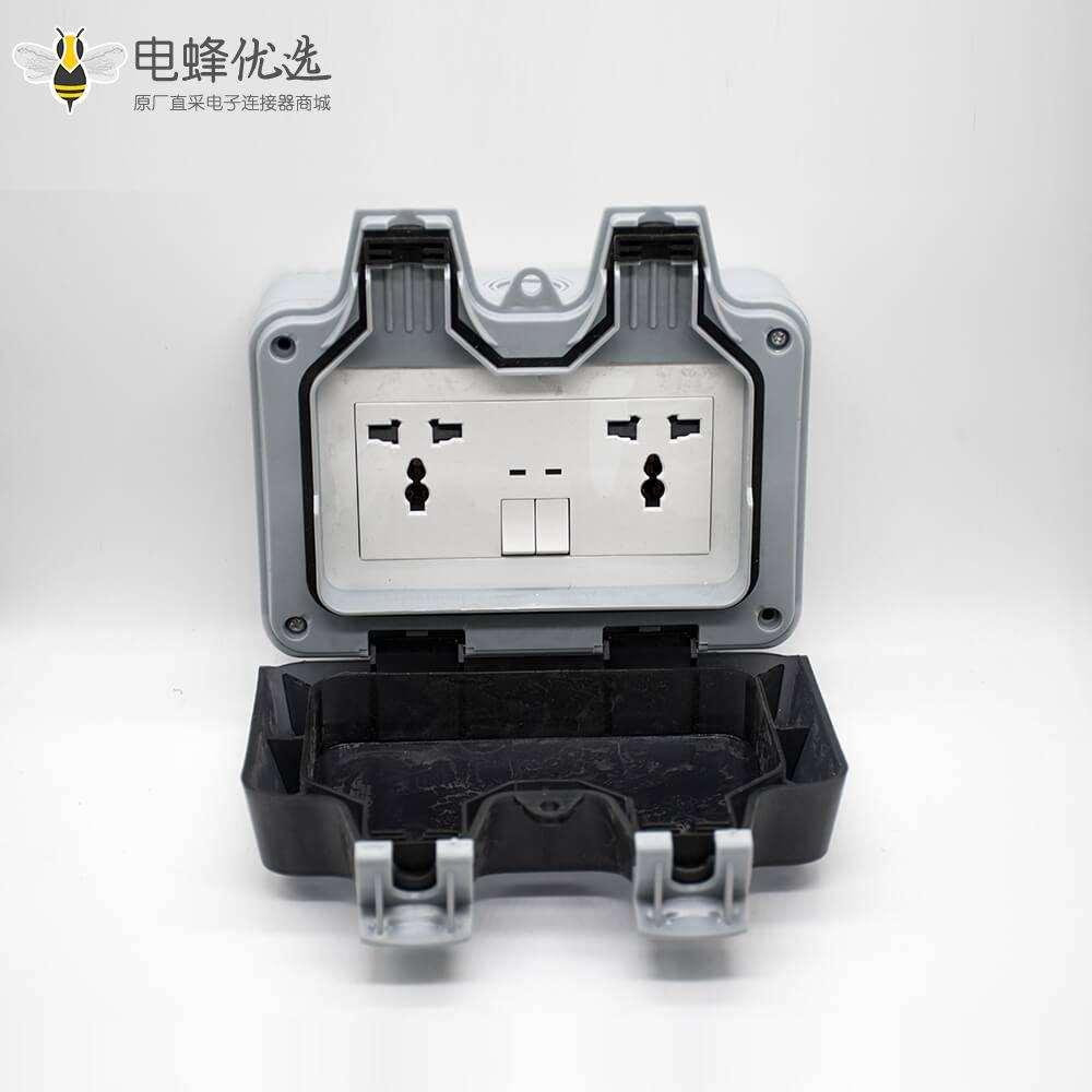 户外防水插座定制化双端口开关+3孔插座ABS塑料壳体防水盒
