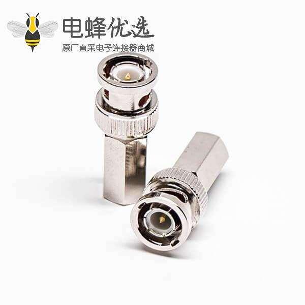 BNC公头同轴连接器器插头螺母紧锁接线