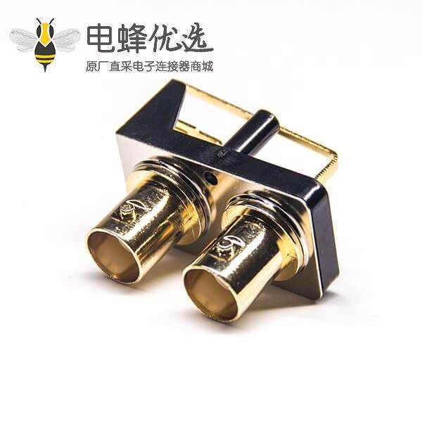 BNC连接器接口端子母头弯式穿孔PCB板安装