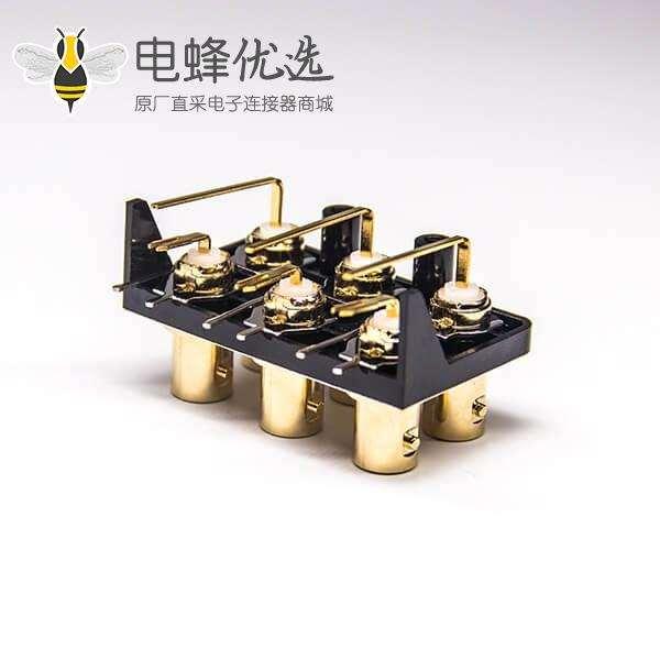 BNC连接器阻抗母头弯式穿孔式镀金插PCB板