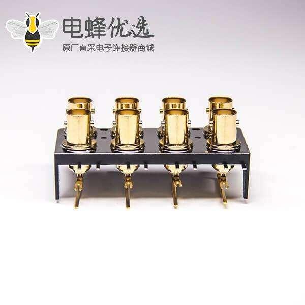 BNC多孔视频接头90度母插板接PCB板镀金