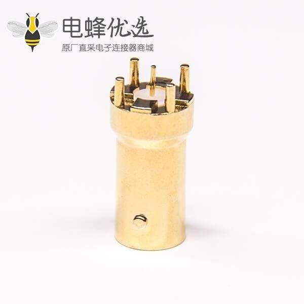 PCB 射频BNC连接器母头180°插板镀金50欧姆X2