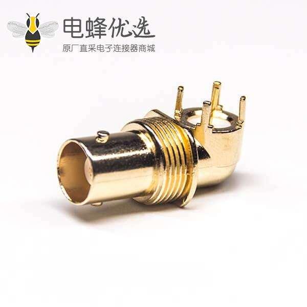 BNC监控连接器母头弯式穿孔式插PCB板50欧姆