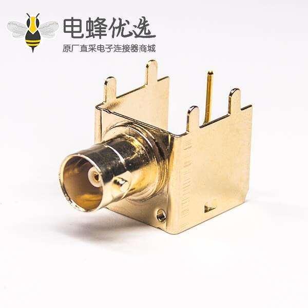 BNC型射频同轴连接器标准90度母头插板接PCB板安装