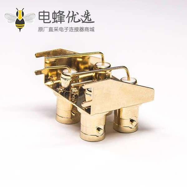 镀金BNC接口母头弯式插板接PCB板50欧姆