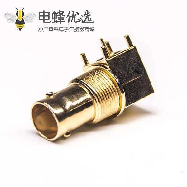 BNC母插头弯式穿孔式接PCB板安装镀金