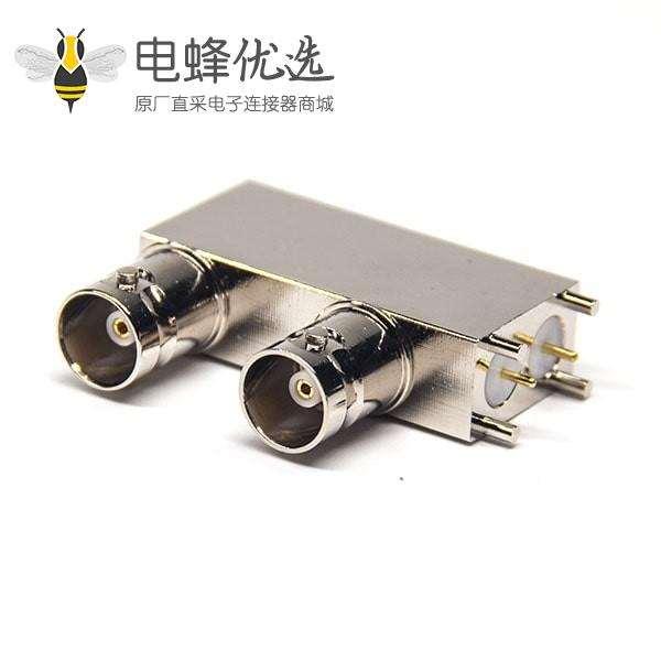 全铜BNC接头双母座弯式90度插PCB板