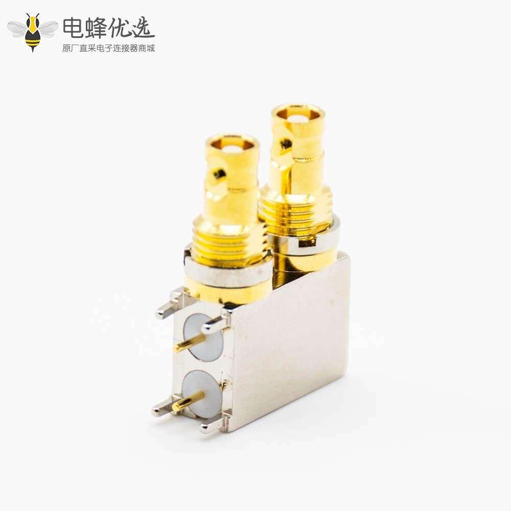 BNC插孔连接器母头弯式PCB板安装插孔双端口卡口连接
