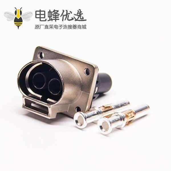 电动汽车高压连接器3.6mm直式A键位2芯金属插座