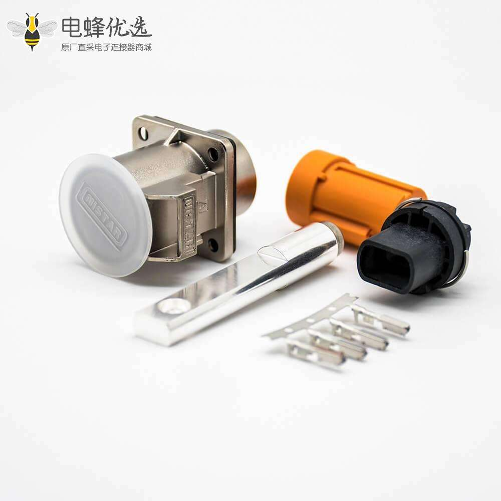 高压互锁连接器125A 6mm 6.5mm通孔直式1芯金属插座