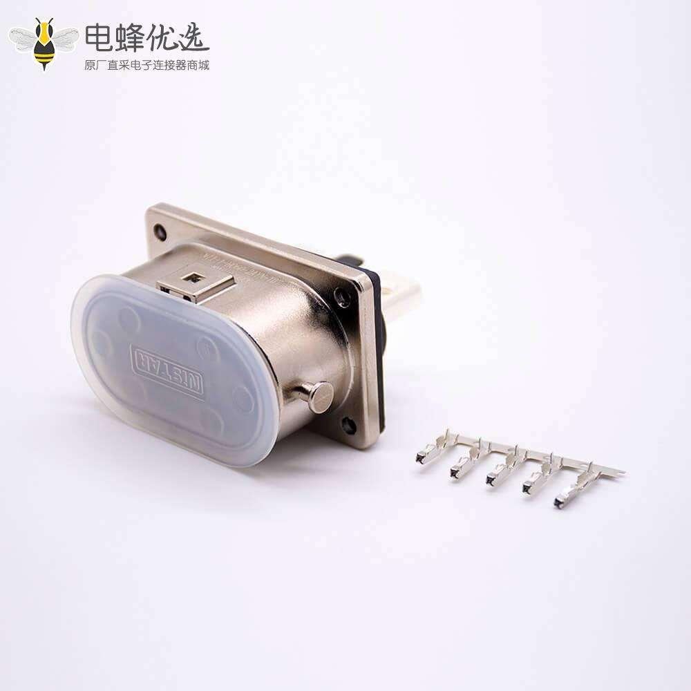 高压互锁金属连接器2芯6mm 125A 6.5mm通孔直式插座
