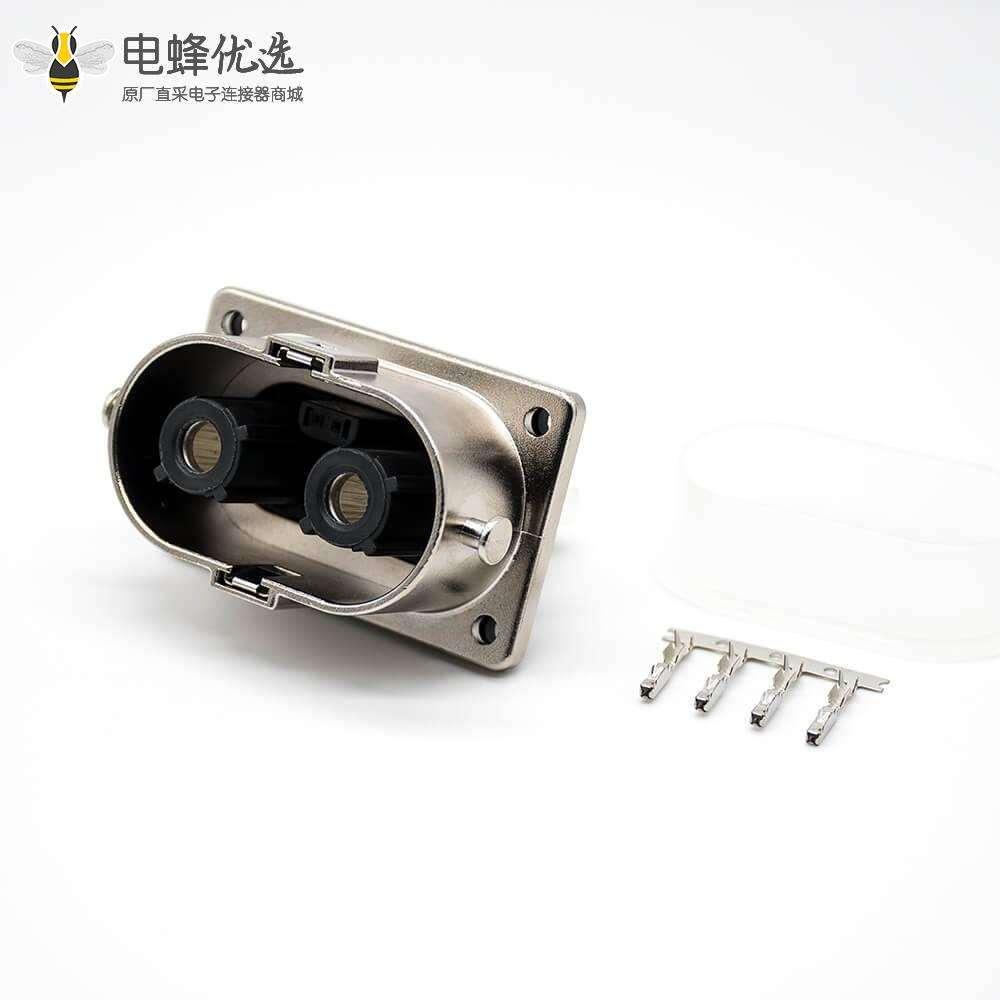 高压插座M6螺纹孔2芯金属125A 6mm直式A键位连接器