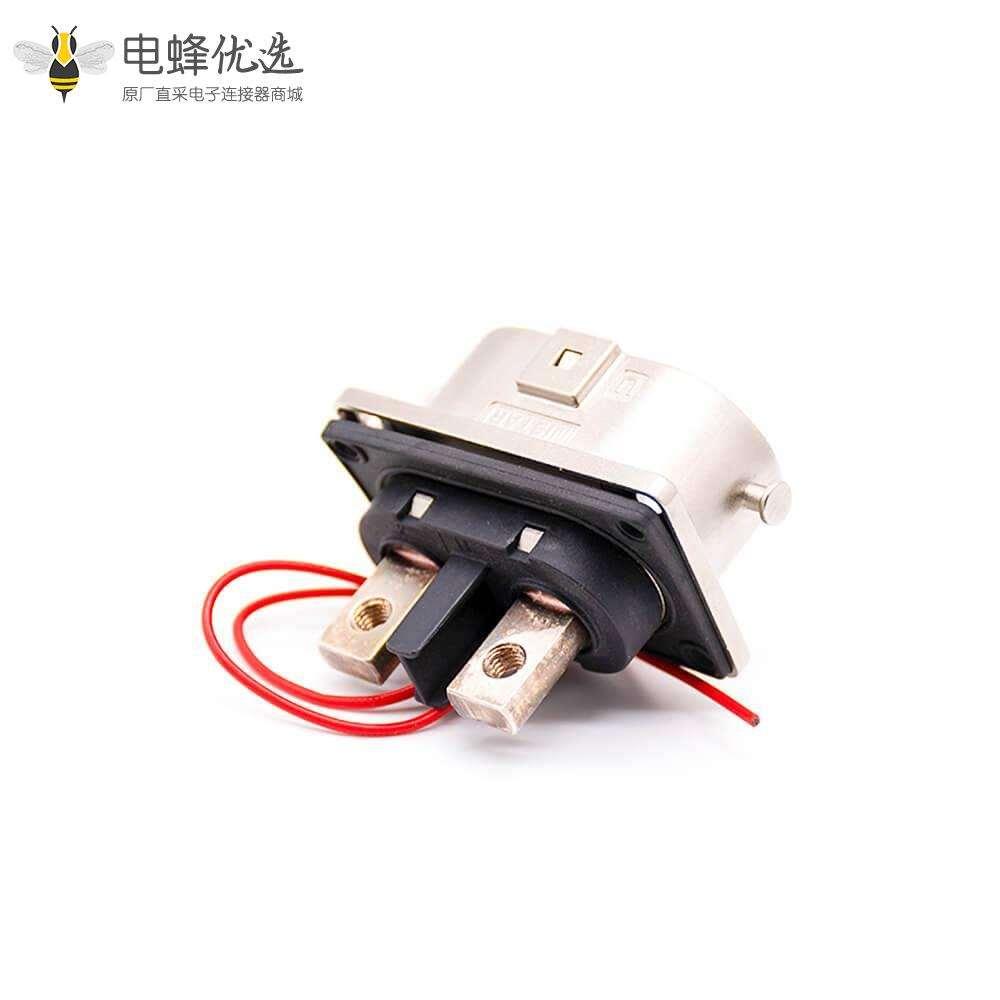高压连接器插座2芯125A金属6mm接M6螺纹孔直式U键位