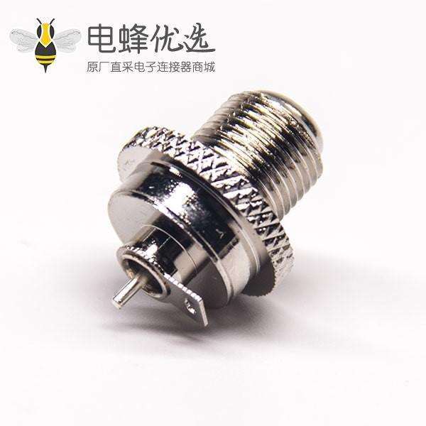 外螺纹f头连接器直式母头带小铁片焊线式
