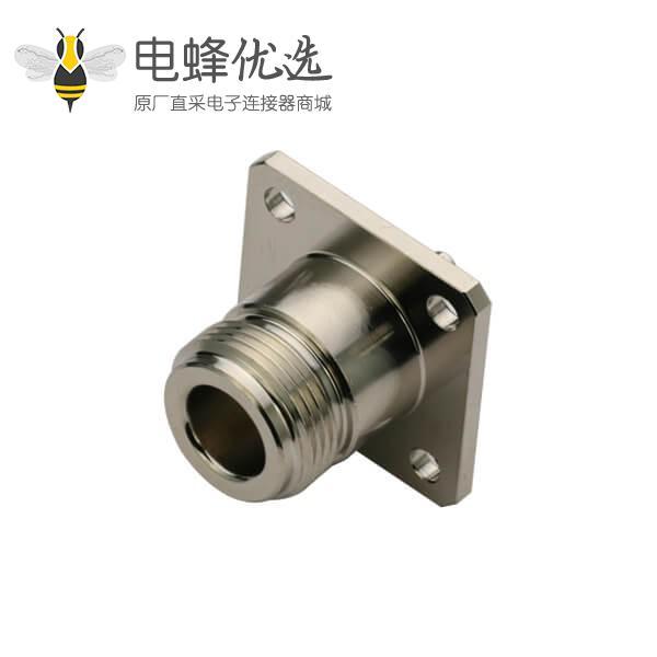 射频同轴n型连接器插座直式母头4孔法兰盘面板安装