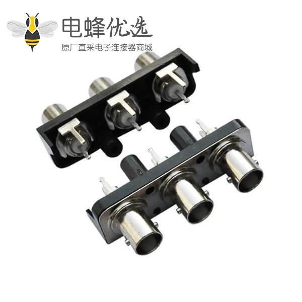 三同轴bnc连接器 黑色塑胶外壳 直式