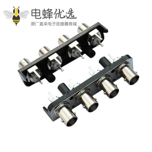 视频母头 黑色塑胶外壳 直式射频同轴 PCB板端