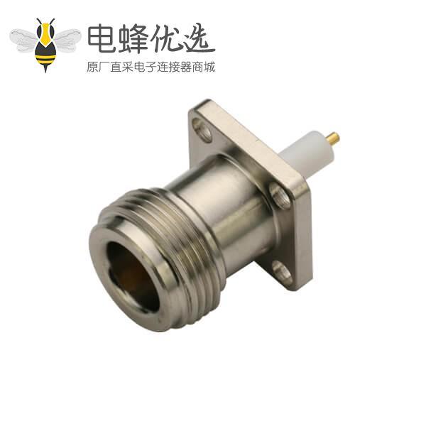 连接器 n头母头防水型直式母头带法兰盘4孔