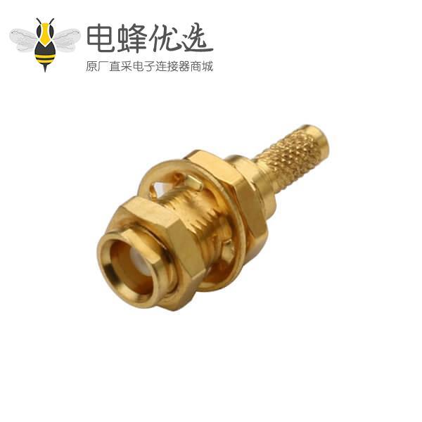 同轴电缆 接头RG316 直式穿墙式mcx连接器母头