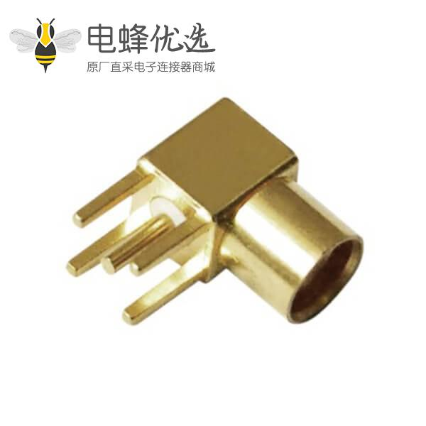 射频接头弯式镀金母头mcx面板安装