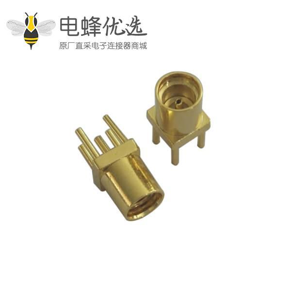 射频pcb连接器直插式镀金mmcx母头