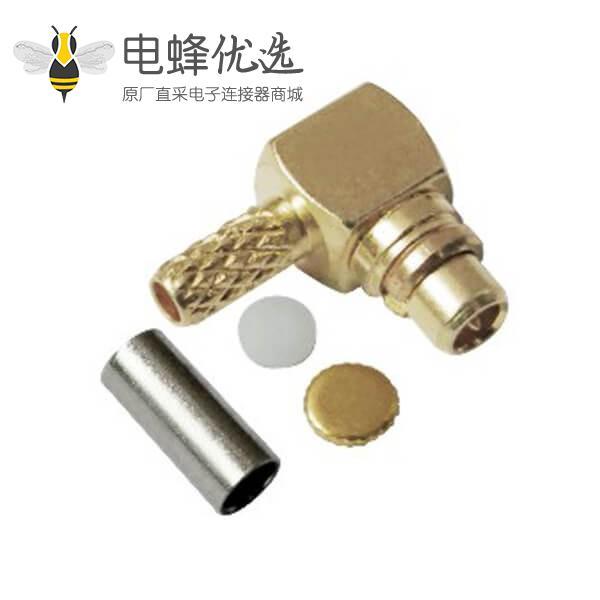 mmcx连接器公头弯式压接射频同轴线缆