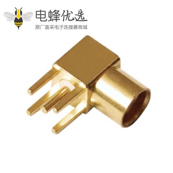 pcb射频连接器板端mmcx同轴弯式镀金母头