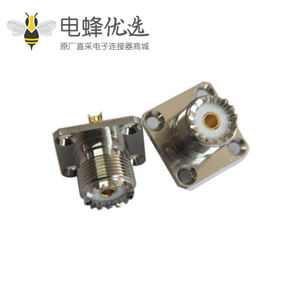 rf射频同轴连接器法兰盘4孔方形座uhf母头