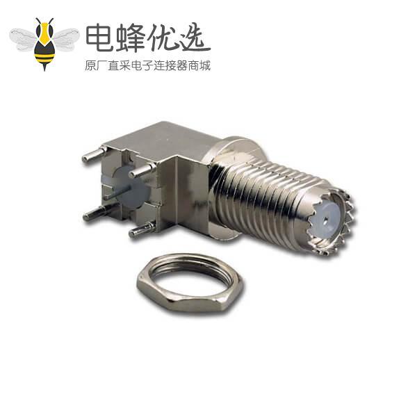 射频同轴连接器Mini uhf弯式穿墙母头面板安装