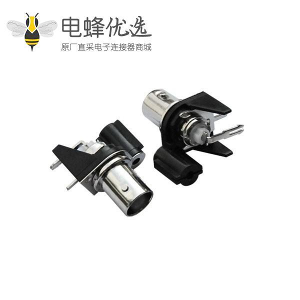 同轴射频连接器bnc母头黑色塑料外壳弯式50欧姆pcb板