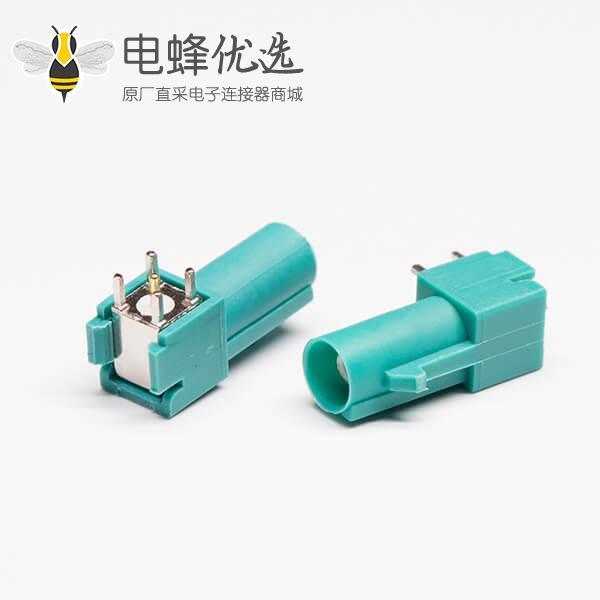 FAKRA射频连接器E型绿色公针插座穿孔式接PCB板