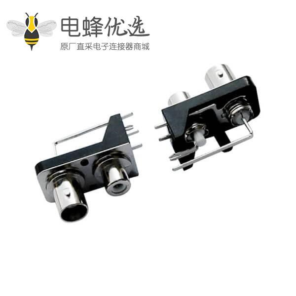 射频pcb连接器带RCA 绝缘同轴黑色塑胶外壳  弯式母头