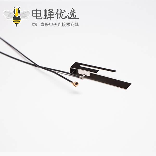 双频wifi天线tv用2.4 & 5G 平板不锈钢焊RF1.13黑色同轴线+IPEX天线座