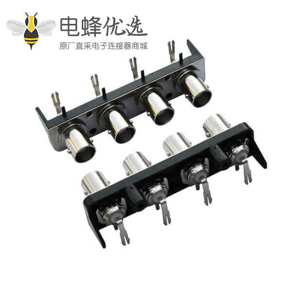 bnc多孔视频连接器 4同轴 塑胶外壳 弯式 射频母头 PCB板端