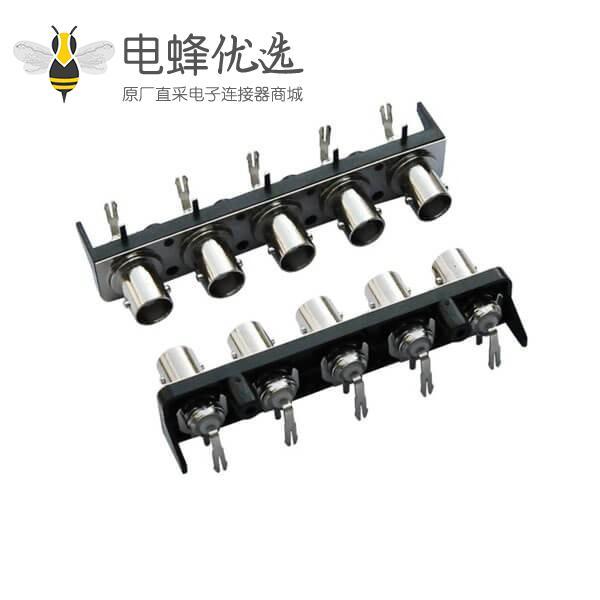 bnc高清视频连接器 黑色塑胶外壳 弯式母头 PCB电路板