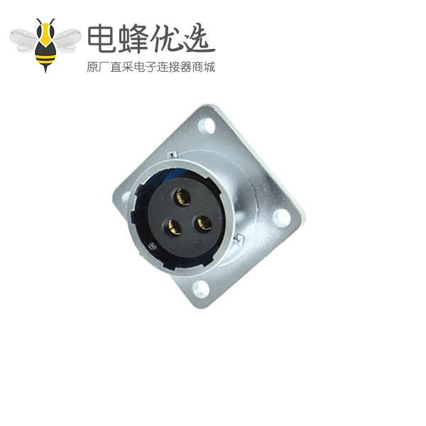 三芯航空插座RA16四孔方形法兰母座件