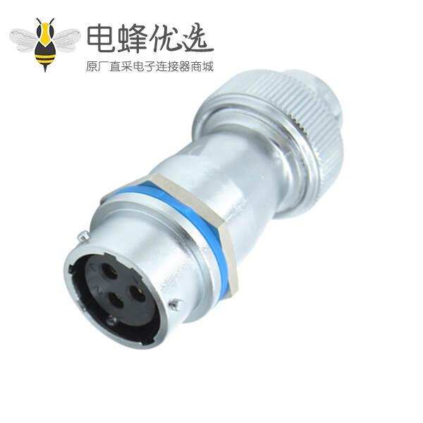 三芯航空插座RA16型螺帽锁紧防水对接母插头