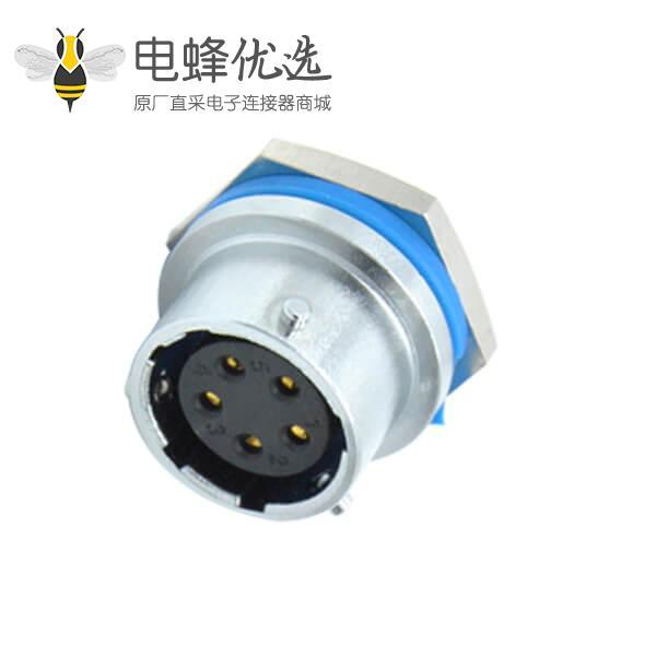 5芯航空插座RA16直式防水后锁安装母头连接器