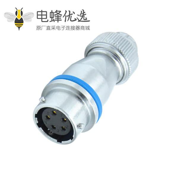 5芯航空插座RA16螺帽锁紧工业防水对接连接器母座