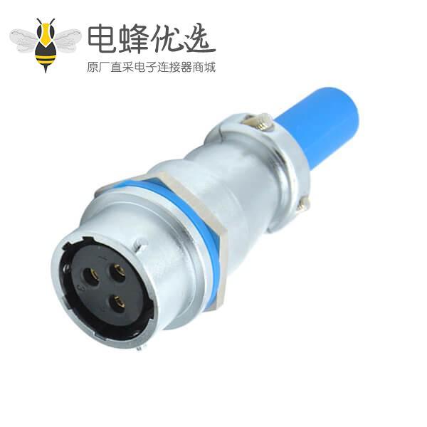 三芯航空插座母座件RA16电缆护套对接防水连接器