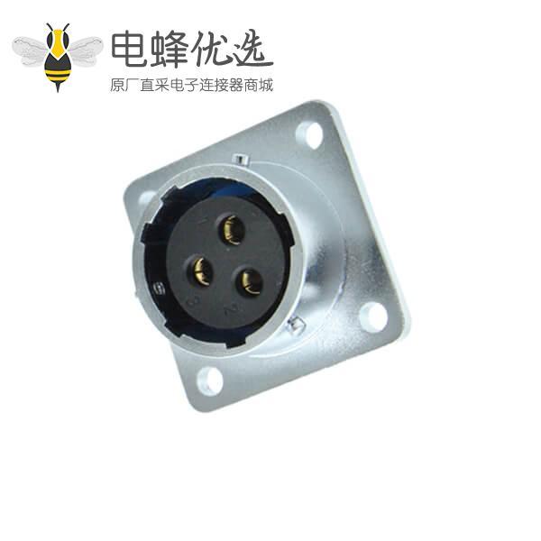 三芯航空插座RA20母头四孔方形法兰连接器