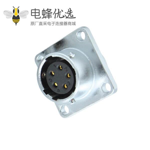 5芯航空插座防水工业RA20连接器方形法兰母头