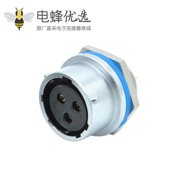 三芯航空插座后锁穿墙RA20工业防水连接器母头